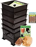 Worm Factory DS5BT 5-Tray Worm Composting Bin + Bonus ''What Can Red Wigglers Eat?'' Infographic Refrigerator Magnet - Vermicomposting Container System - Live Worm Farm Starter Kit for Kids & Adults