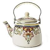 Enamel on Steel Teapot,Large Porcelain Enameled Teakettle,Hot Water Tea Kettle,Halogen Induction Cooker Coffee Pot for Stovetop,Small Retro Classic Design … (3.3L)