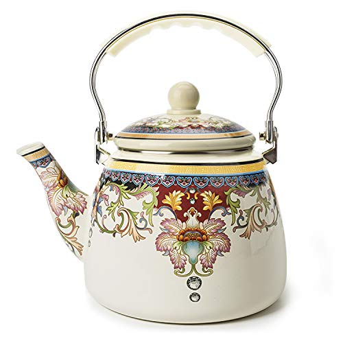 (Enamel on Steel Teapot,Large Porcelain Enameled Teakettle,Hot Water Tea Kettle,Halogen Induction Cooker Coffee Pot for Stovetop,Small Retro Classic Design ...)