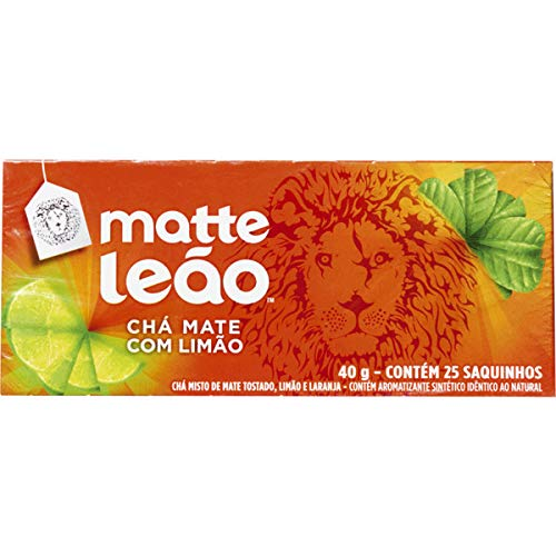 Leao - Mate Brazilian Tea Cha Matte LIME - 40g, 25 Satches (1 PACK) -
