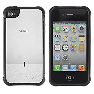 LASTONE PHONE CASE / Suave Silicona Caso Carcasa de Caucho Funda para Apple Iphone 4 / 4S / Deep Winter White Quote Sad Emo
