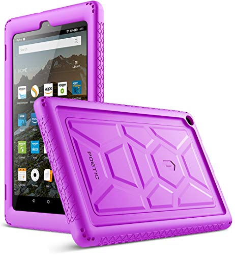 Poetic TurtleSkin Case for All-New Amazon Fire HD 8 Tablet (7th and 8th Generation, 2017 and 2018 Release) - Heavy Duty Silicone case and Sound-Amplification Feature Cover - Purple