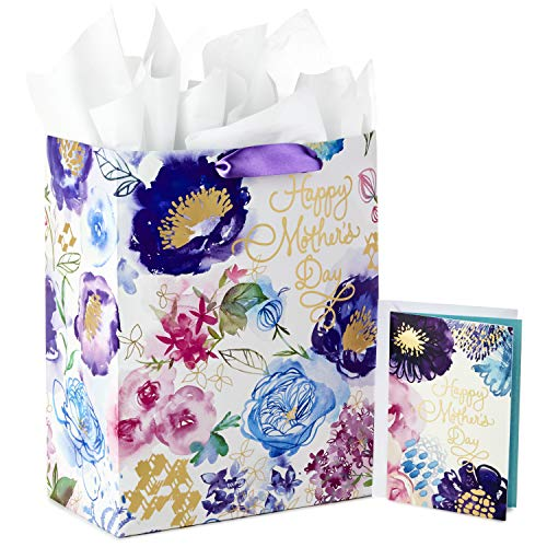Purple Flowers Gift Bag - Hallmark Large Gift Bag with Tissue Paper and Mothers Day Card (Purple Flowers)