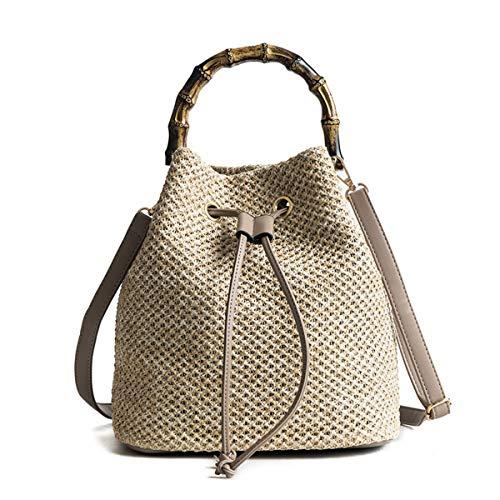 - Barabum Summer Beach Handwoven Straw Shoulder Hand Bag Tote Bucket Bags for Women with Handbag Decorative Scarf (2)