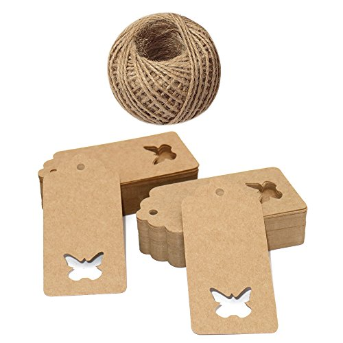 Butterfly Gift Tags - Gift Tags,100 Pieces Kraft Paper Tags,Hollow Butterfly Gift Tags for Christmas Day and Wedding or Birthday Party Brown Kraft Hang Labels Tags with 30 Meters Natural Jute Twine