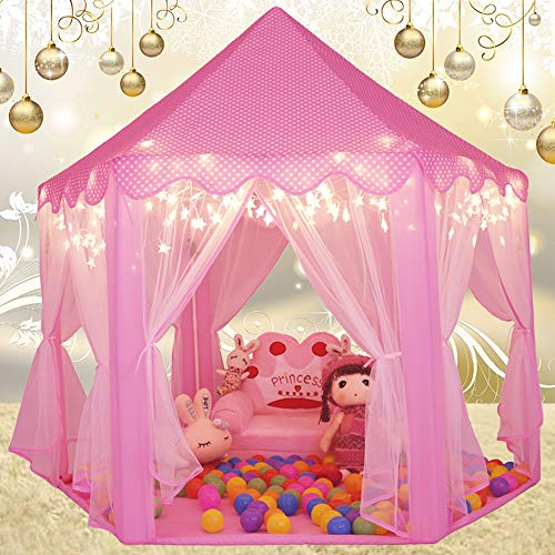 - Sumerice Kids Play Tent Large Indoor & Outdoor Hexagon Princess Castle Tent Fairy Playhouse for Girls, Boys, Children (Pink)