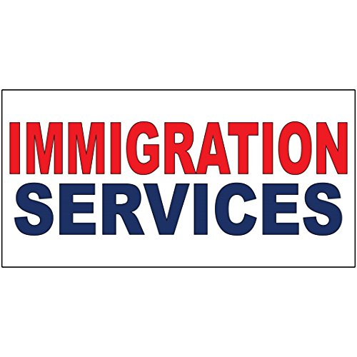 Immigration Services Red Blue DECAL STICKER Retail Store Sign - 14.5 x 36 inches from Fastasticdeals