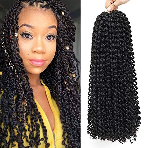 6 Packs Passion Twist Hair 22 strands/pack Water Wave Synthetic Braids Bohemian for Passion Twist Crochet Braiding Hair (18inch,6pcs, 1B)