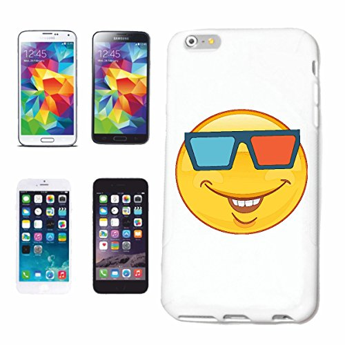"cas de téléphone iPhone 6S ""FUNNY SMILEY AVEC LUNETTES 3D ""SMILEYS SMILIES ANDROID IPHONE EMOTICONS IOS grin VISAGE EMOTICON APP"" Hard Case Cover Téléphone Covers Smart Cover pour Apple iPhone en blan"