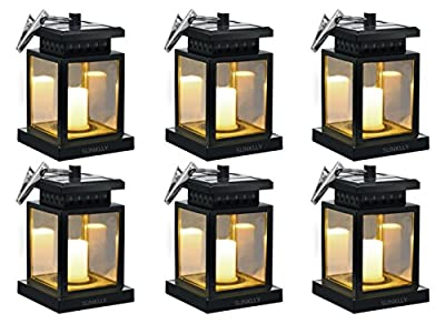 Hanging Solar Lights Outdoor Solar Umbrella Lantern Garden Patio Umbrella Lights Candle Lantern for Decorated Patio Deck(Pack of 6)