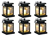 Hanging Solar Lights Outdoor Solar Umbrella Lantern Garden Hanging Solar Lights Candle Lantern for Decorated Patio Deck(Pack of 6)