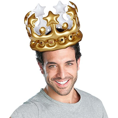 Fenleo Gold Crown Party Hat by, Inflatable Crown PVC Balloon Party Birthday Hat -