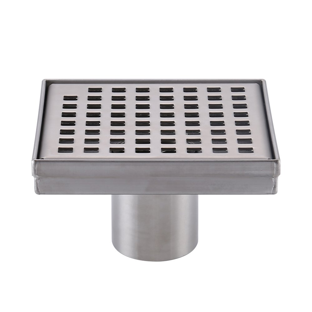KES Square Shower Floor Drain with Removable Grate Strainer SUS 304 Stainless Steel Bathroom Drainer RUSTPROOF Brushed Finish, V255S14 by Kes (Image #9)