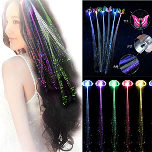 Colorful Butterfly White Shell Women Girl LED Fiber Optic RGB Lights Up Hair Barrette Clip Braid Fashion Party ()