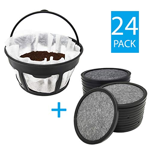 Premium Replacement Charcoal Water Filter Disks for Mr. Coffee Machines [24 Pack] + Reusable Basket Paper Filter Holder (24 Water Filters + 1 Paper Filter Holder) ()