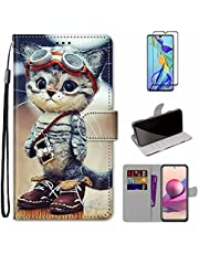 MUTOUREN Hoesje voor Samsung Galaxy A32 4G con Schermbeschermer, PU Lederen Case Flip Wallet Cover Magneet Beschermende Schokbestendige Telefoonhoes, Mode Kat