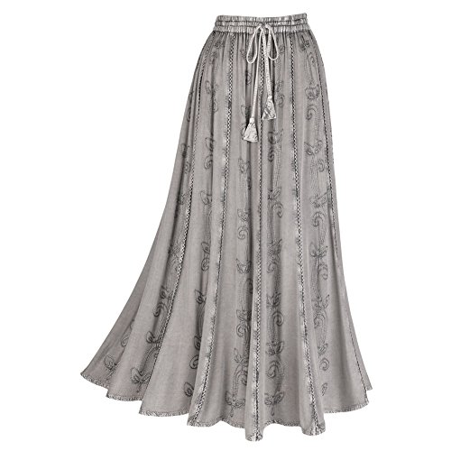 Peasant Long Skirt (Women's Embroidered Broom Long Peasant Skirt - Enzyme Wash - Gray - Large)
