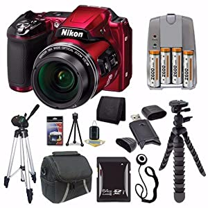 Nikon COOLPIX L840 Digital Camera (Red) (International Model No Warranty) + 4 AA Pack NiMH Rechargeable Batteries and Charger + 64GB SDXC Card + Case + Tripod + Mini Flexible Tripod Saver Bundle