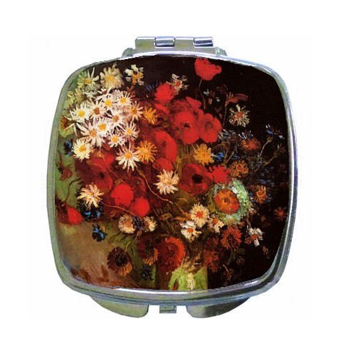 Cornflower Mirror (Vase With Poppies, Cornflowers, Peonies And Chrysanthemums By Vincent Van Gogh Compact Mirror)