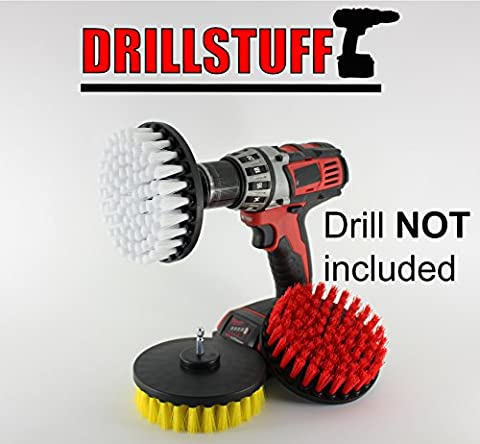 3 Piece Soft, Medium and Stiff Power Scrubbing Brush Drill Attachment for Cleaning Showers, Tubs, Bathrooms, Tile, Grout, Carpet, Tires, Boats by - Carpet Cleaning Brush Tool