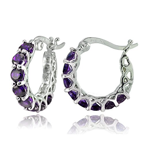 Sterling Silver African Amethyst Small Round Huggie Hoop Earrings