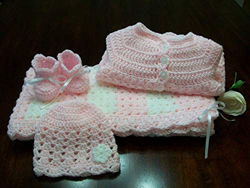 Crochet Baby Blanket Set Pink And Cream Baby Cardigan Pink