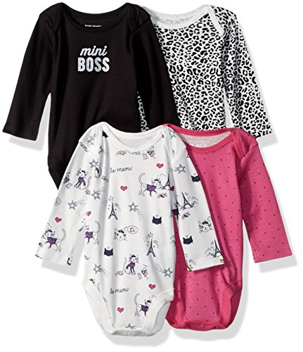 The Children's Place Baby Girls' Long Sleeve Bodysuit, Black 85546 (Pack Of 4), 6-9MONTHS