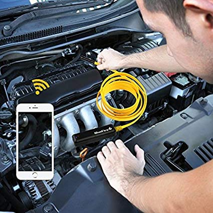 iPad 6.6FT ShinePick Semi-Rigid Flexible Wireless Endoscope IP67 Waterproof WiFi Borescope 2 MP HD Resolutions Inspection Camera Snake Camera for Android and iOS Smartphone iPhone Tablet Samsung
