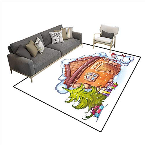 Christmas Rugs for Living Room Cartoon Style Cute House with Snowy Roof Snowman and Fir Tree Presents Customize Area Rugs Caramel Green White