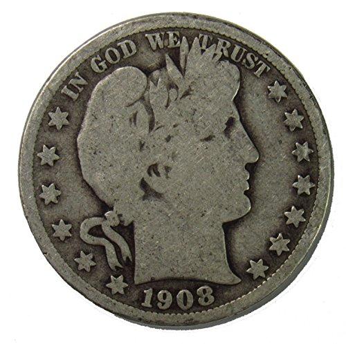 1908 D Silver Barber Half Dollar 50c Very Good