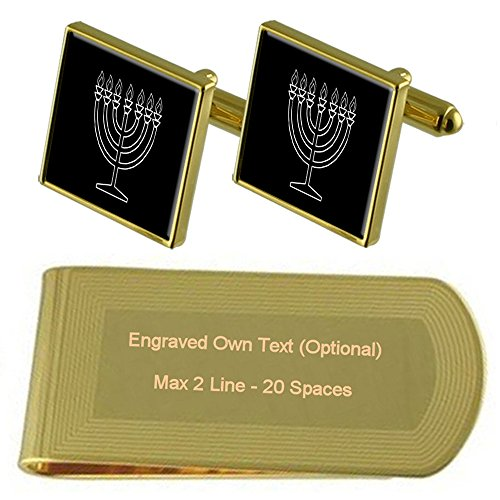 Jewish tone Clip Gift Hannukah Engraved Set Cufflinks Money Gold qEWxnqrwp