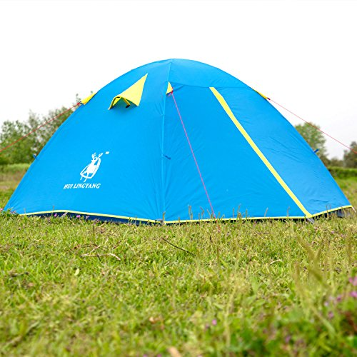 HUI LINGYANG Outdoor Camping Tent, Aluminum Rod Waterproof 3 Person Portable Camping Family Tent/Backpacking Tent With Carry Bag, Blue