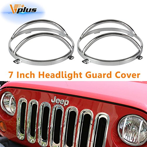 (Vplus Chrome 7 inches Headlight Covers Front Guards Headlamp Protectors Replacement for Jeep Wrangler JK Rubicon Sahara Sport 2/4 Door 2007-2018(2PCS))