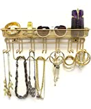 Sorbus Jewelry Organizer Holder, Mail & Key Rack, 13 Hook Wall Mounted Storage Shelf - Perfect for Jewelry, Accessories, Beauty Products, Mail, Keys, and Much More! (Gold)