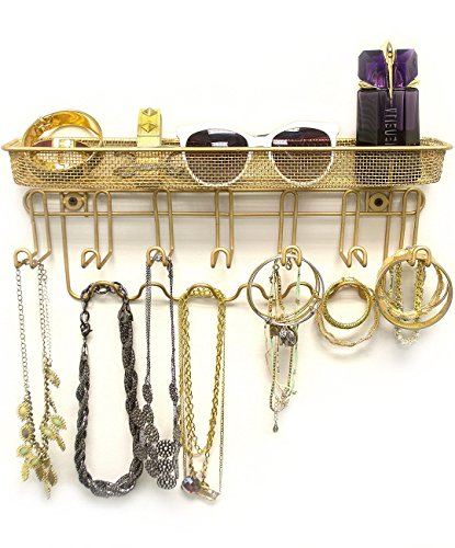 Sorbus Jewelry Organizer Holder, Mail & Key Rack, 13 Hook Wall Mounted Storage Shelf - Perfect for Jewelry, Accessories, Beauty Products, Mail, Keys, and Much More! (Gold Shelf)