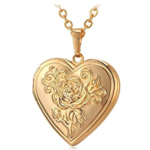 U7 Women Girls Photo Locket Pendant Heart/Round Shaped Fashion Jewelry 18K Gold Plated Necklace, with Custom Engrave Service