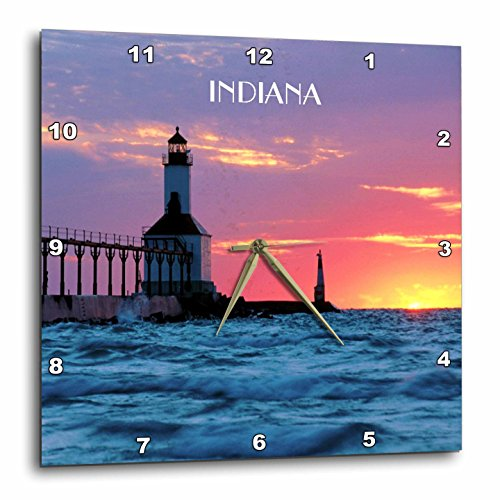 3dRose dpp_62523_2 Lighthouse at Michigan City Indiana-Wall Clock, 13 by - Outlet Indiana Lighthouse