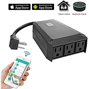 WeniChen IP44 Waterproof Outdoor Wifi Smart Extension Socket 3 Outlets Power Strip Support Voice Control, Timer Function by Smartphone APP, Compatible with Alexa