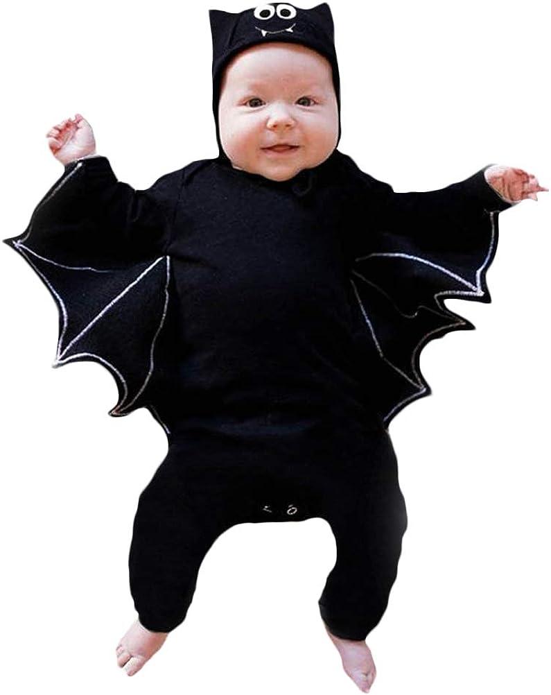 Disfraz Halloween Niña Niño Bebe Recién Nacido Monos de Manga murciélago Tops con Sombrero de Oreja Juego de rol de Halloween para niños pequeños