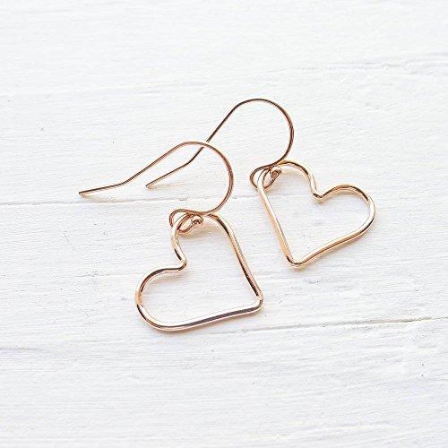 Wire Heart Gold (Rose Gold Heart Wire Earrings)