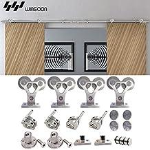 WINSOON Wheel Head Shape Hanger Part Stainless Steel Barn Door Sliding Hardware Kit Hanging Double Doors (12FT Two Doors Kit)