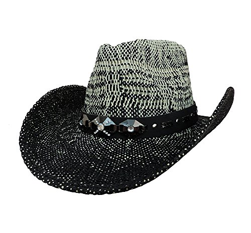 Black & White Natural Straw Western Cowboy Hat w/ Jewel Band