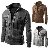 Realdo Mens Coat, Solid Casual Slim Designed Lapel Zipper Top Jacket