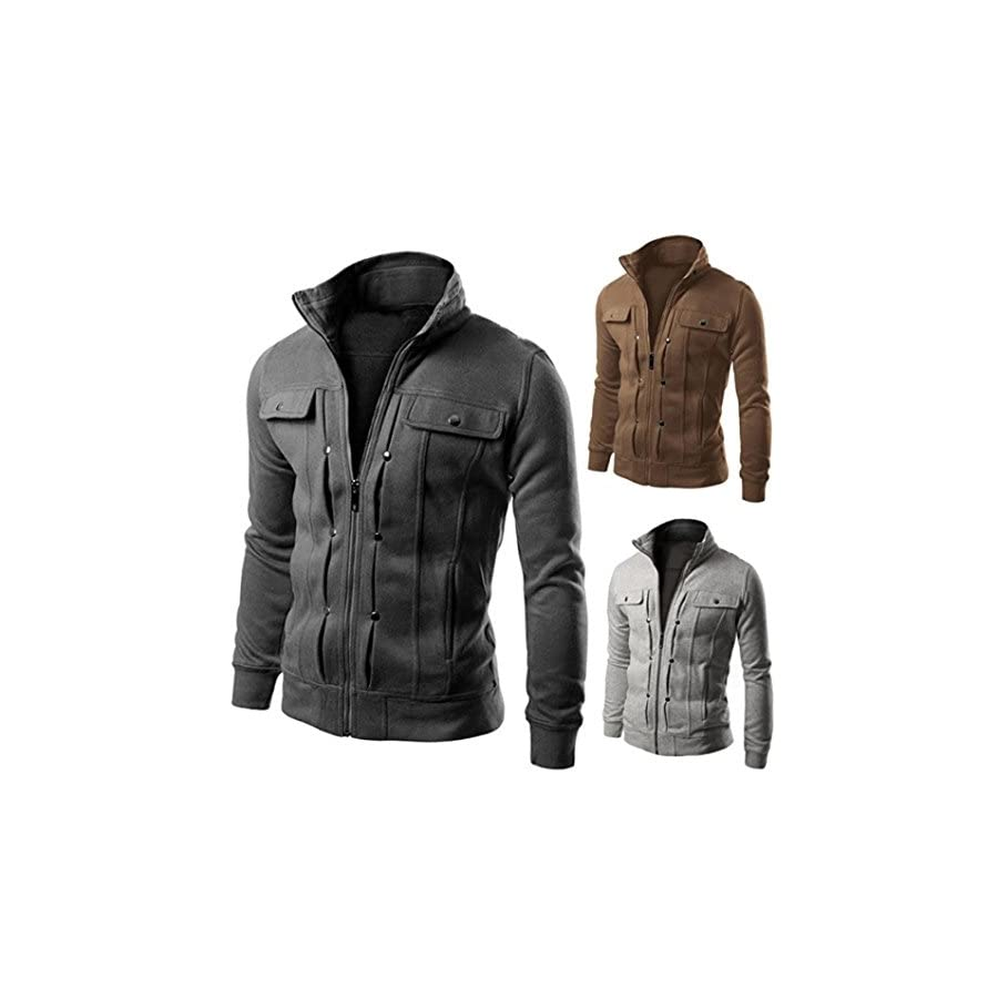 Realdo Mens Coat Clearance Sale, Solid Casual Slim Designed Lapel Zipper Top Jacket