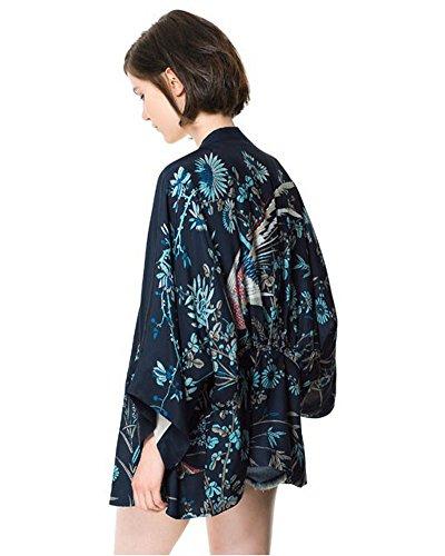 Minetom Giacca Cappotto Cardigan Manica Elegante Kimono Stampato Blu Phoenix Ragazze Donna Tops Fenice Vintage Lunga Corto Casuale pwgqxp6r