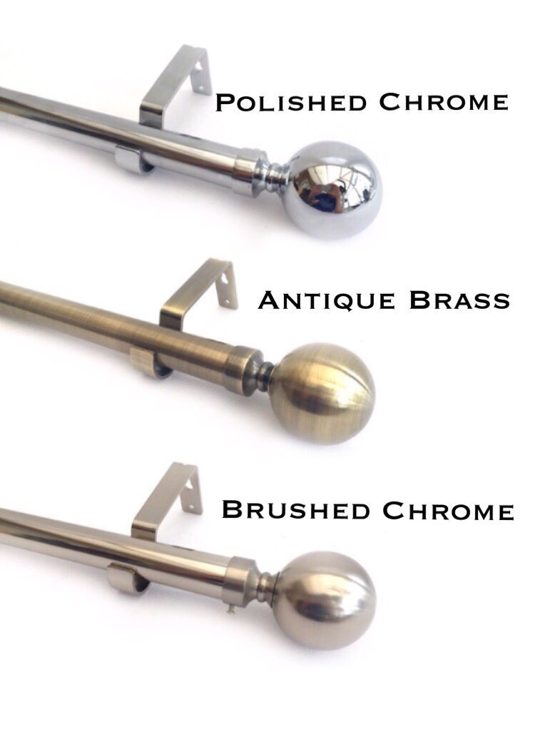 28mm Extendable Complete Eyelet Metal Curtain Pole With Metal Ball Finials (1.2m - 2m, Brushed Chrome) You Home Online