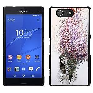 EJOY---Cubierta de la caja de protección para la piel dura ** Sony Xperia Z3 Compact ** --Significado Deep Purple Gris oscuro emotivo
