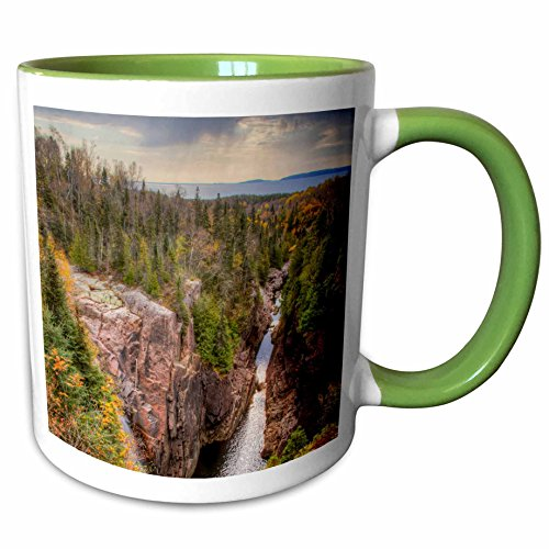 Terrace Bay - 3dRose Danita Delimont - Rivers - North America, Canada, Ontario, Terrace Bay, Aguasabon Gorge. - 15oz Two-Tone Green Mug (mug_206126_12)
