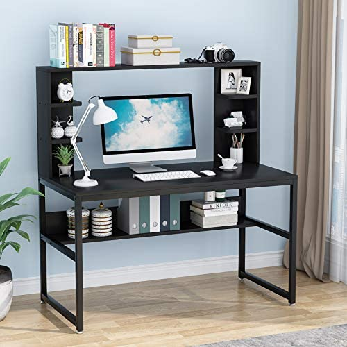 Tribesigns 47 Inches Computer Desk with Hutch, Study Writing Table for Home Office, Modern Writing Desk with Bookshelf, PC Laptop Study Table Workstation with Storage Shelf for Home (Black)