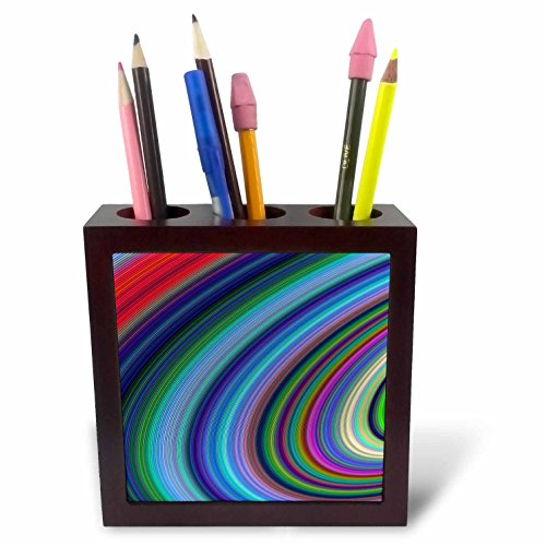 3dRose David Zydd - Colorful Abstract Designs - Hurricane - Multicolored Computer Generated Graphic - 5 inch Tile Pen Holder (ph_284078_1) ()